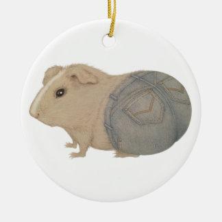 Guinea Pig in Jeans Round Ceramic Decoration