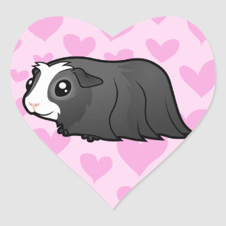 Guinea Pig Love (long hair) Heart Sticker