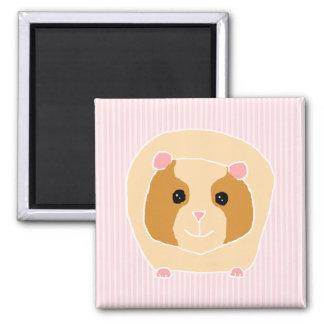 Guinea Pig on light pink stripes Magnet