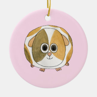Guinea Pig on Pink. Ceramic Ornament