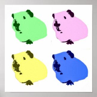 Guinea pig pop art effect poster