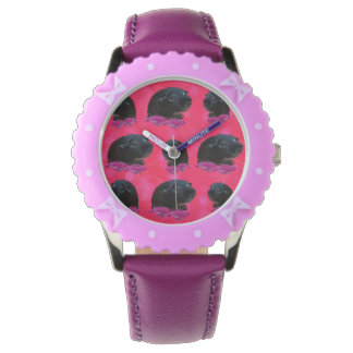 Guinea Pigs On  Roses, Kids Bows  Leather Watch