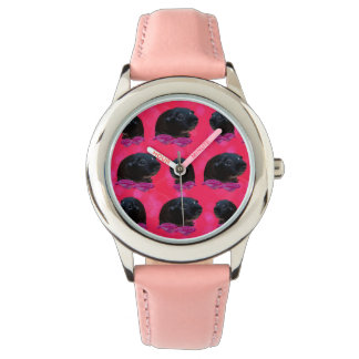 Guinea Pigs On  Roses, Kids Pink Leather Watch