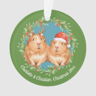 Guinea Pigs Santa and Reindeer Wreath Christmas Ornament