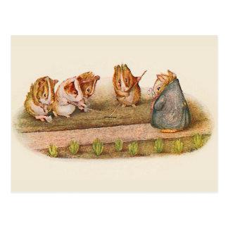 Guinea Pigs Tending Garden Postcard