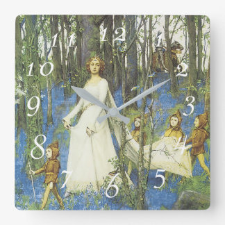 Guinevere and Sir Lancelot Fairy Tale Square Wall Clock