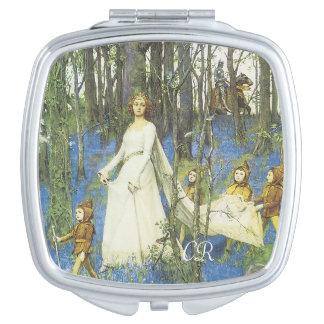 Guinevere And Sir Lancelot With Your Initials Makeup Mirror