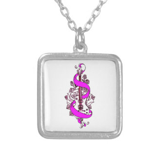 Guitar 2 silver plated necklace