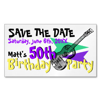 Guitar 50th Birthday Party Save the date Magnetic Magnetic Business Card