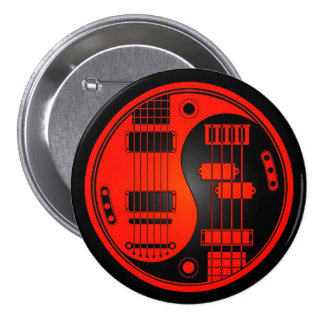 Guitar and Bass Yin Yang Red and Black 7.5 Cm Round Badge