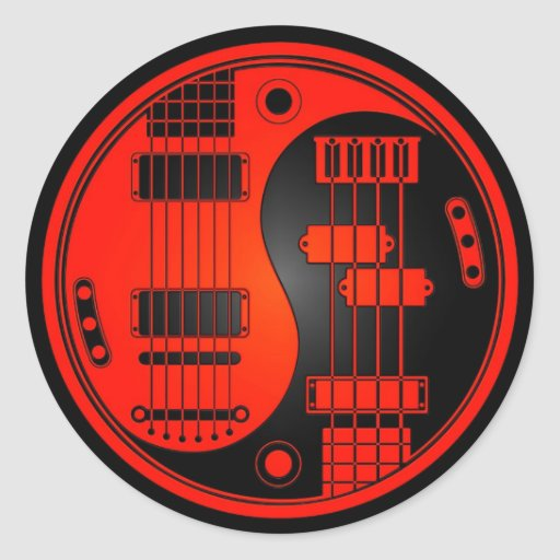 Guitar and bass yin yang red and black classic round for Table yin yang basse