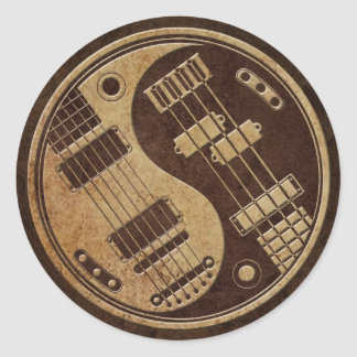 Guitar and Bass Yin Yang with Brown Texture Round Sticker