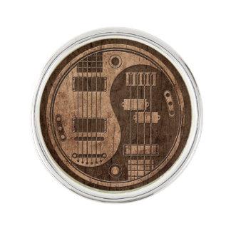 Guitar and Bass Yin Yang with Wood Grain Effect Lapel Pin