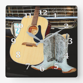 Guitar And Boots Square Wall Clock