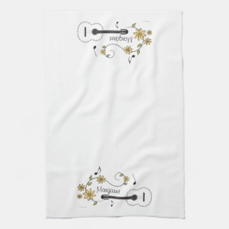Guitar and Flowers Tea Towel