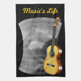 Guitar and Music Sheet Kitchen Towels