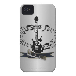 Guitar and Musical Notes on Silver Effect iPhone 4 Case-Mate Cases