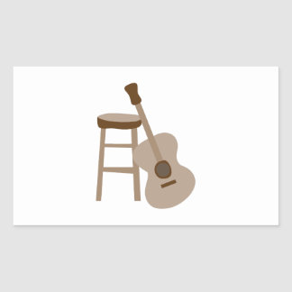 Guitar and Stool Rectangle Stickers