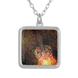 Guitar Art Silver Plated Necklace