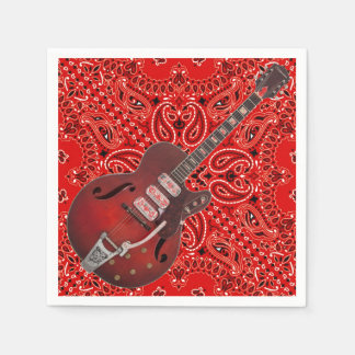 Guitar Bandana Country Music BBQ Picnic Paisley Disposable Napkin