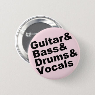 Guitar&Bass&Drums&Vocals (blk) 6 Cm Round Badge