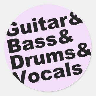 Guitar&Bass&Drums&Vocals (blk) Classic Round Sticker