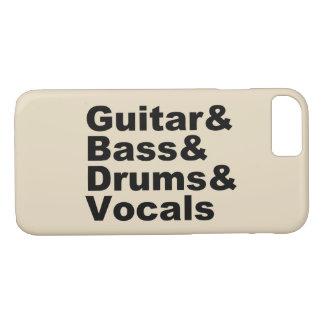 Guitar&Bass&Drums&Vocals (blk) iPhone 8/7 Case