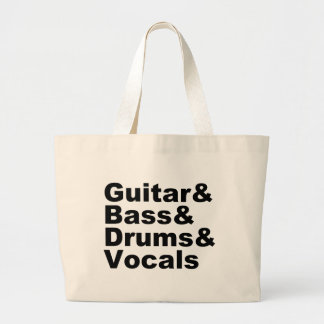 Guitar&Bass&Drums&Vocals (blk) Large Tote Bag