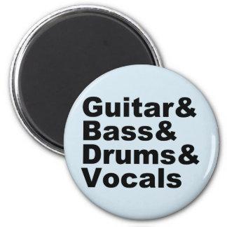 Guitar&Bass&Drums&Vocals (blk) Magnet