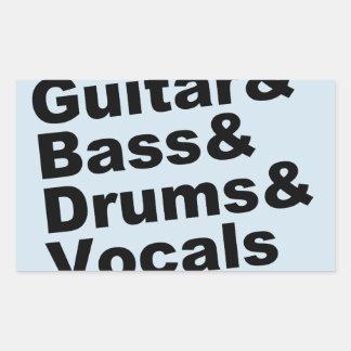 Guitar&Bass&Drums&Vocals (blk) Rectangular Sticker