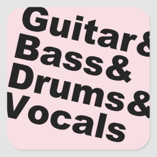 Guitar&Bass&Drums&Vocals (blk) Square Sticker