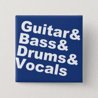 Guitar&Bass&Drums&Vocals (wht) 15 Cm Square Badge