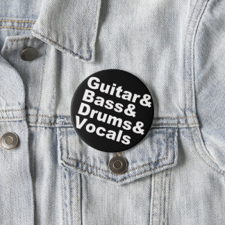 Guitar&Bass&Drums&Vocals (wht) 7.5 Cm Round Badge