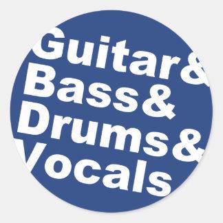 Guitar&Bass&Drums&Vocals (wht) Classic Round Sticker