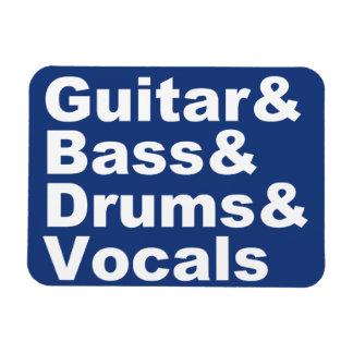 Guitar&Bass&Drums&Vocals (wht) Magnet
