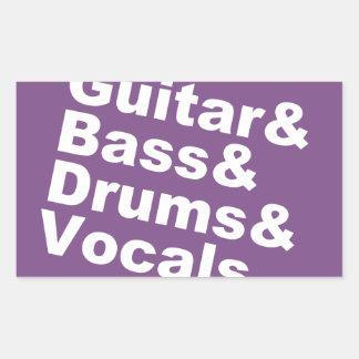 Guitar&Bass&Drums&Vocals (wht) Rectangular Sticker