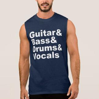 Guitar&Bass&Drums&Vocals (wht) Sleeveless Shirt