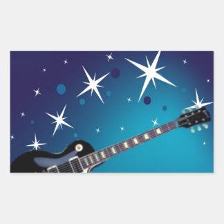 Guitar - blue rectangular sticker