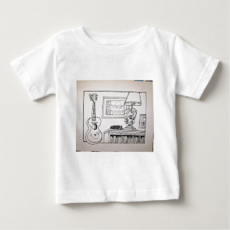 Guitar Cat and Lamp by Piliero Baby T-Shirt