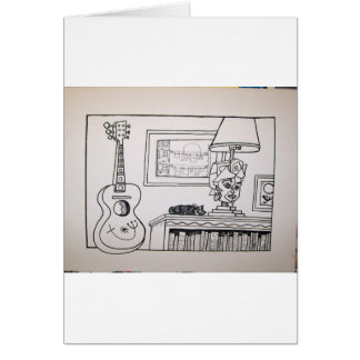 Guitar Cat and Lamp by Piliero Card