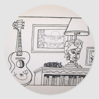 Guitar Cat and Lamp by Piliero Round Sticker