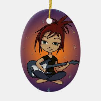 Guitar Chick Ceramic Ornament