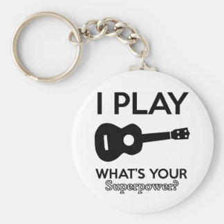 guitar designs basic round button key ring