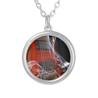 Guitar Eight Strings Seven-String Guitars Silver Plated Necklace
