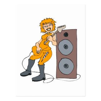 guitar female punk orange against speaker.png postcard