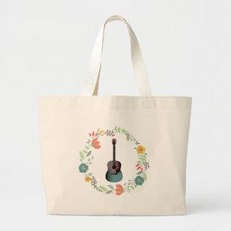 Guitar Flower Ring Large Tote Bag