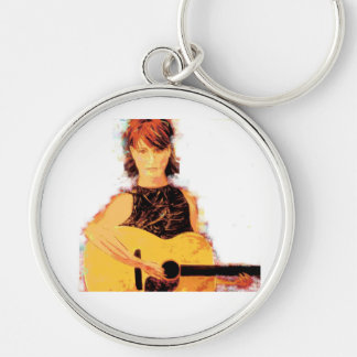 guitar girl playin' Silver-Colored round key ring