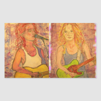 Guitar Girls Rectangle Stickers