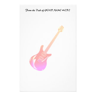 Guitar graphic yel pink red stationery