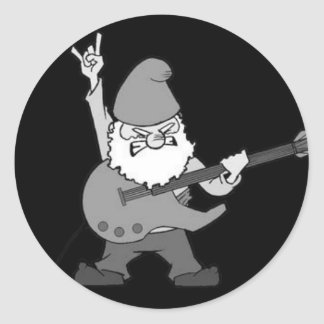 Guitar Hero Gnome Round Sticker